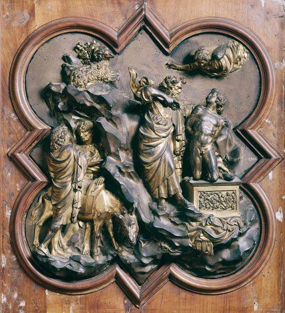 Formella di Ghiberti per la porta del Battistero, Il sacrificio di Isacco