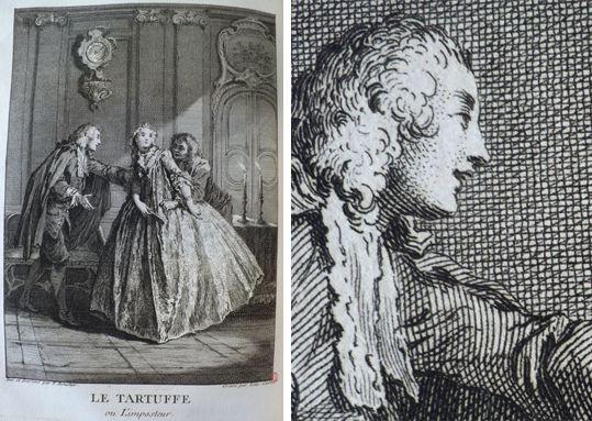 François Boucher, illustration pour le Tartuffe de Molière, dessin gravé par Laurent Cars, in Œuvres de Molière, nelle édition, Paris, 1734