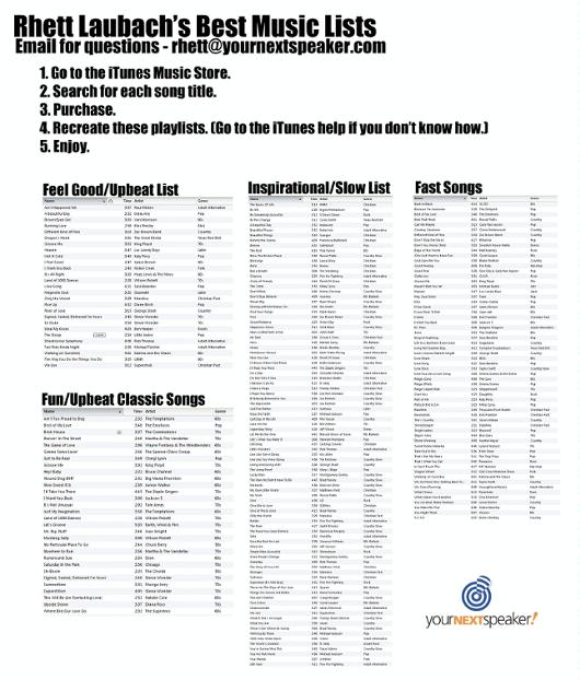 YNS Music Lists Fall 2012