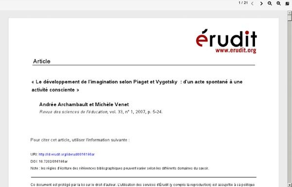 « Le développement de l'imagination selon Piaget et Vygotsky : d'un acte spontané à uneactivité consciente »