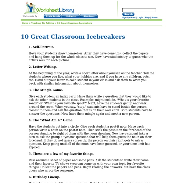 10 Great Classroom Icebreakers
