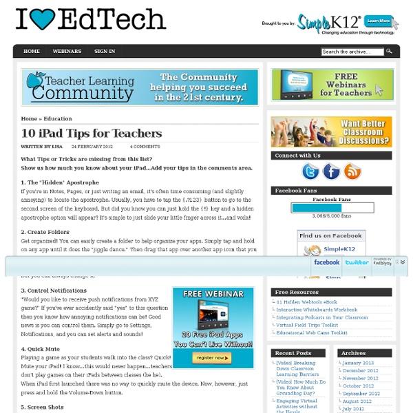 10 iPad Tips for Teachers