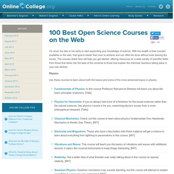 100 Best Open Science Courses on the Web