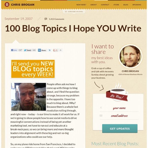 100 Blog Topics I Hope YOU Write