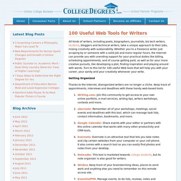 100 Useful Web Tools for Writers