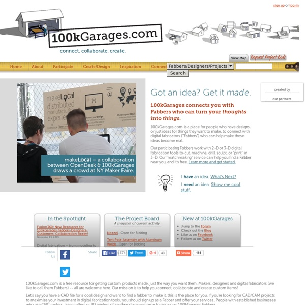 100kGarages - Where projects are made by digital fabricators (fabbers) working with 2-D or 3-D digital fabrication tools