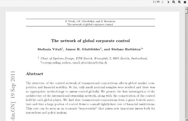 """Précis by Downes ( of New Scientist review of """"The network of global corporate control"""" ("""