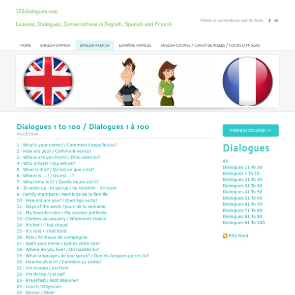 123dialogues.comLessons, Dialogues, Conversations in English, Spanish and French - English French