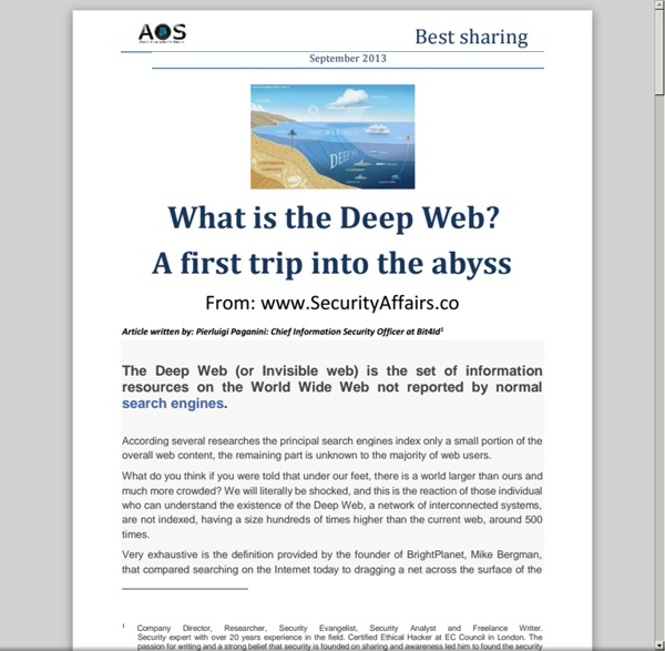 What is the Deep Web?A first trip into the abyss