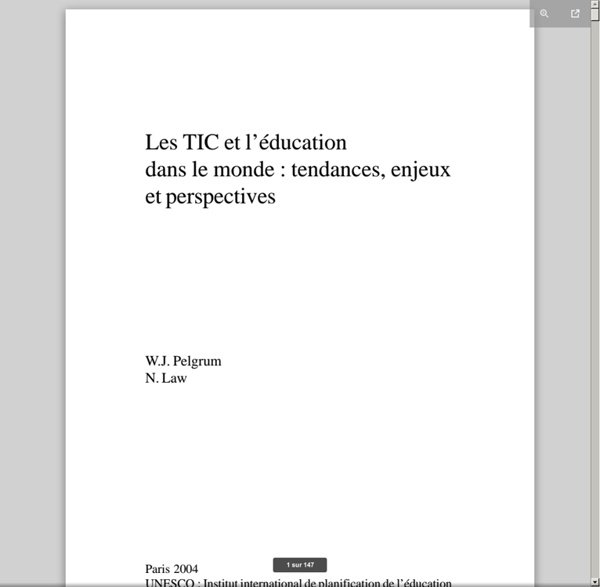 Les TIC et l'éducation dans le monde: tendances, enjeux et perspectives; Fundamentals of educational planning; Vol.:77; 2003
