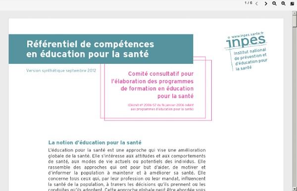 Référentiel de compétences en éducation pour la santé