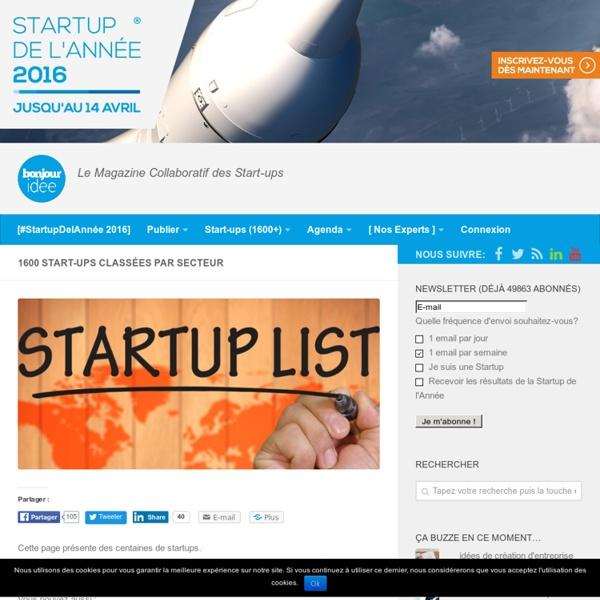 Startups classées par catégories