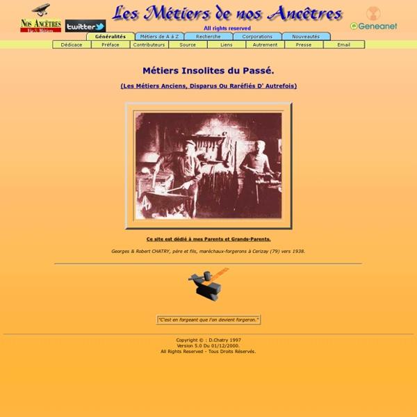 Les Métiers de nos Ancêtres (D. CHATRY)