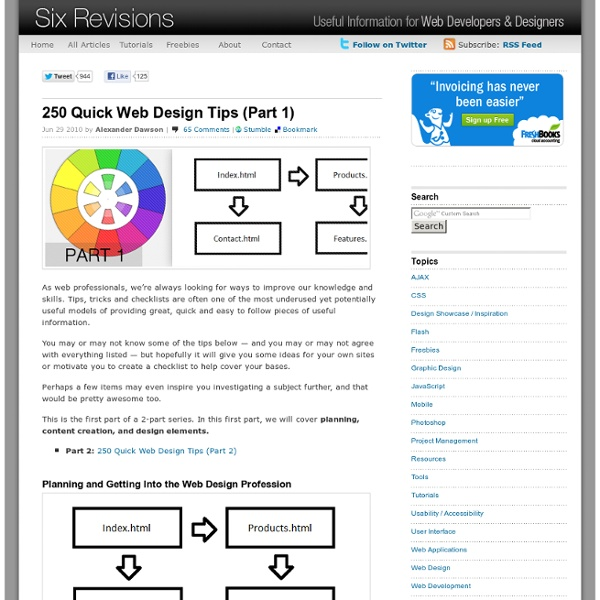 250 Quick Web Design Tips (Part 1)