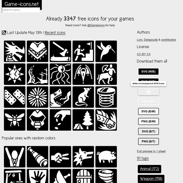 1343 free SVG and PNG icons for your games or apps
