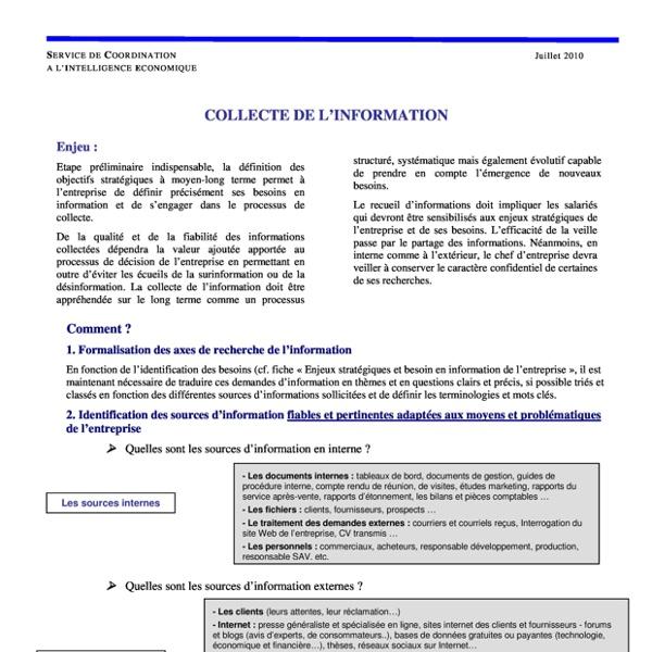 La collecte de l'information