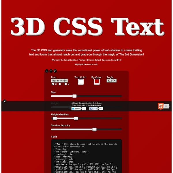3d CSS Text Generator