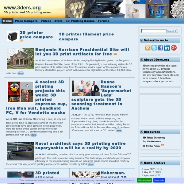 3D printer and 3D printing news, trends and resources.