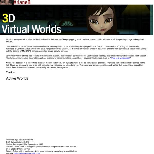 3D Virtual Worlds List
