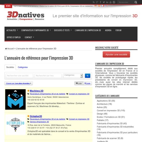L'annuaire de référence pour l'impression 3D