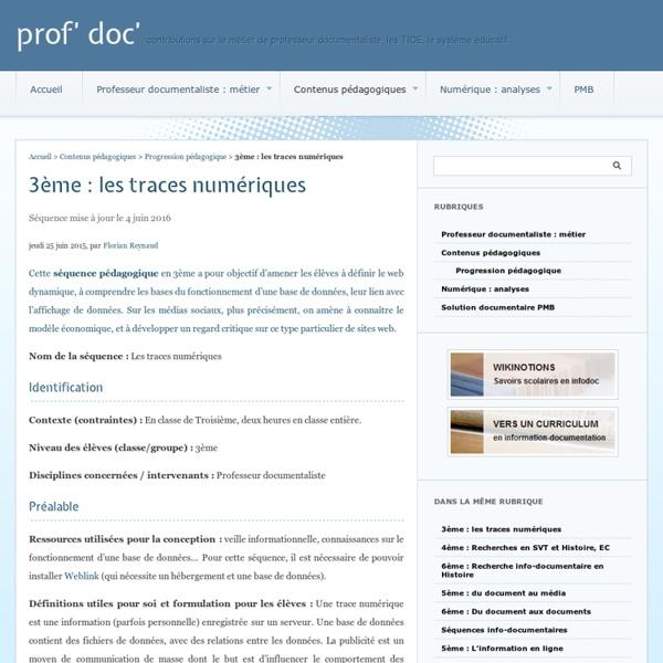 3ème : les traces numériques - prof' doc'