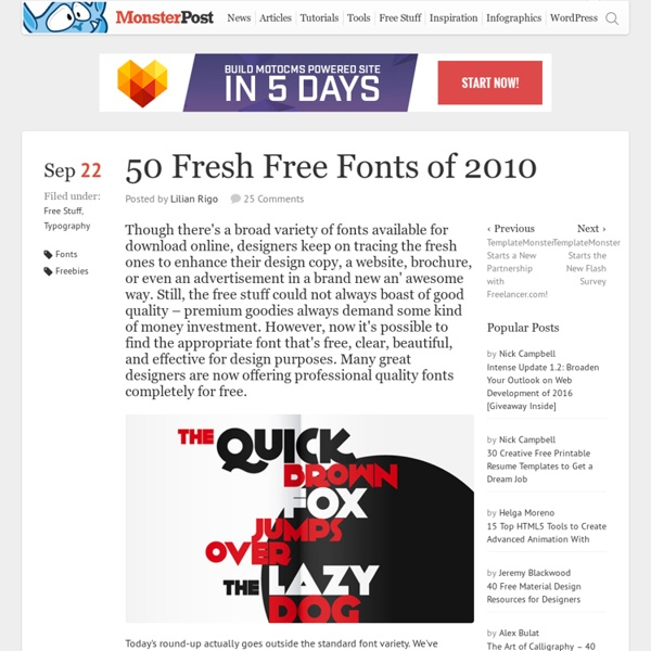 50 Fresh Free Fonts of 2010