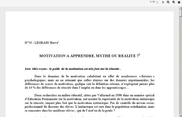Motivation à apprendre: mythe ou réalité