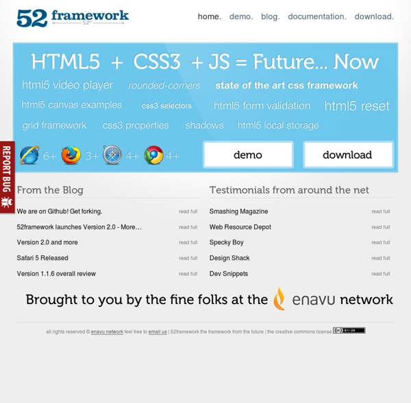 52framework - The framework from the future, HTML5, CSS3, and more!