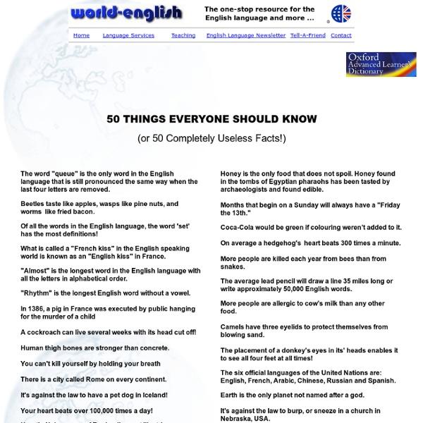 5o Amazing but useless facts!