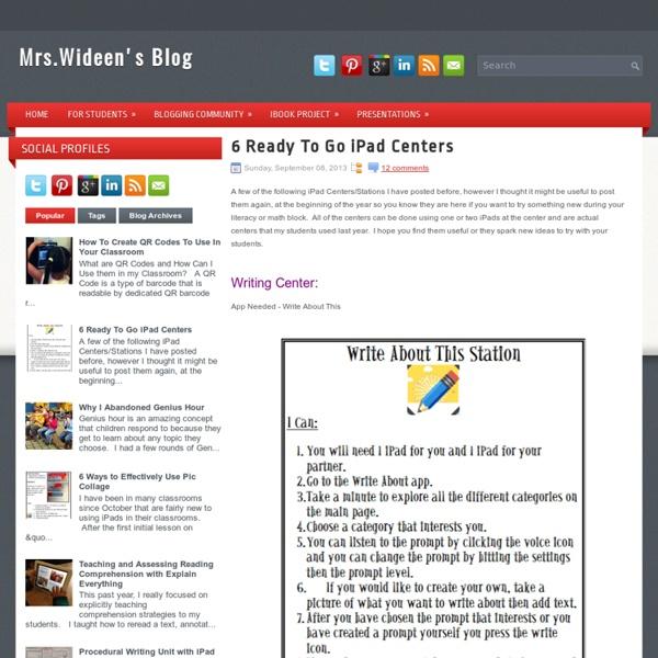 6 Ready To Go iPad Centers