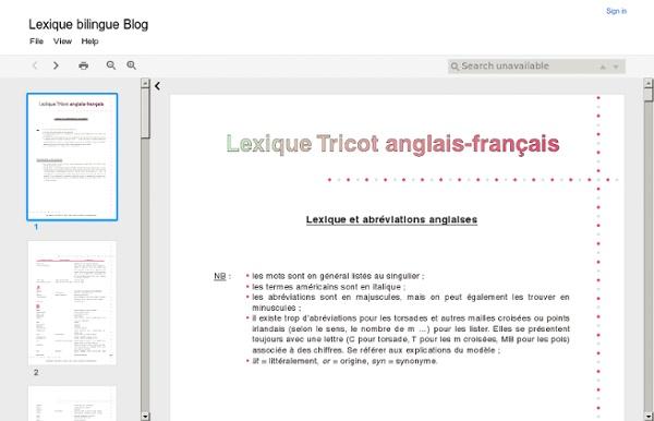 Lexique bilingue Blog
