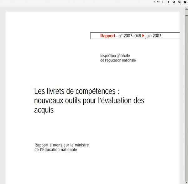 Rapport IGEN livret de compėtences
