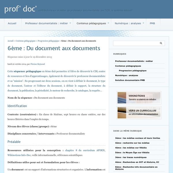 6ème : Un document, des documents - prof' doc'
