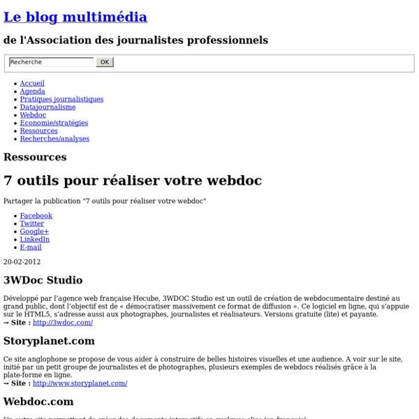 Les logiciels et outils pour réaliser un Webdocumentaire