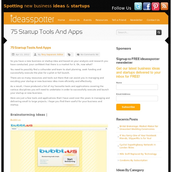 75 Startup Tools And Apps new business ideas and startups -