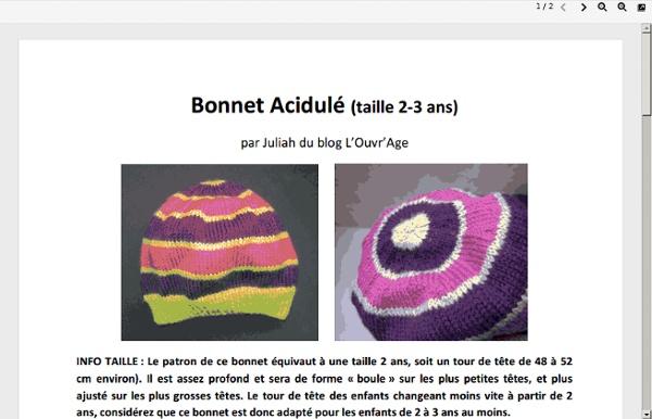 Bonnet taille 2/3 ans