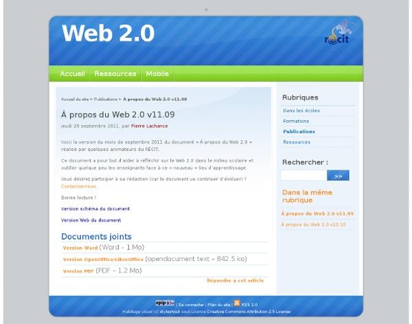 À propos du Web 2.0 v11.09 - Web 2.0