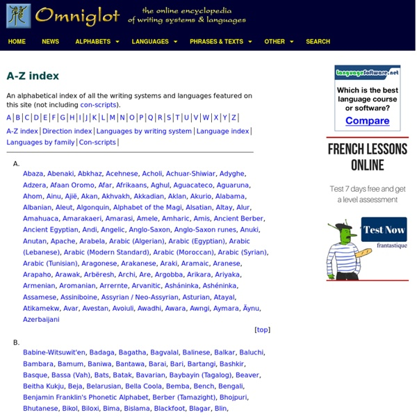 A-Z index of Omniglot