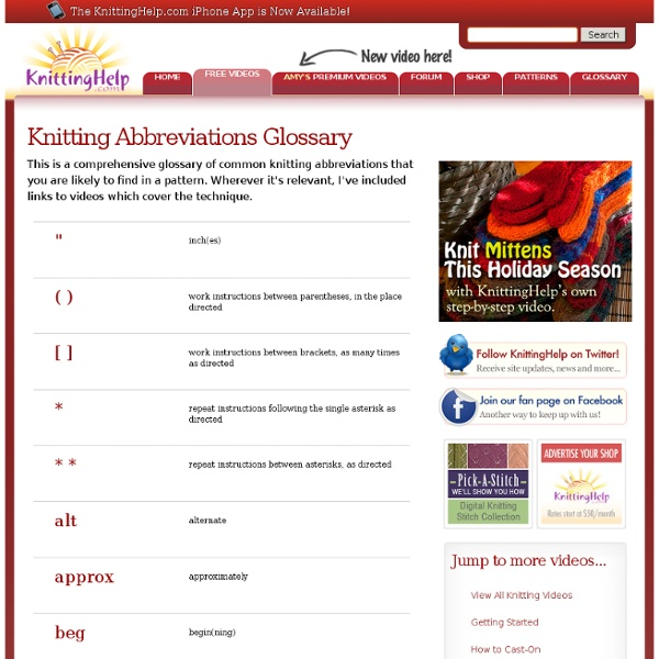 Knitting Stitch Abbreviations Dictionary : Knitting Abbreviations Glossary Pearltrees