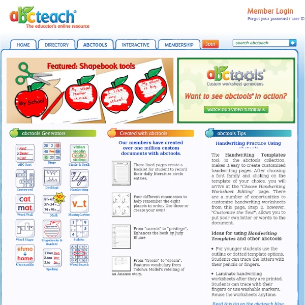 Abctools: Create Your Own Worksheets, Word Searches, Crossword Puzzles