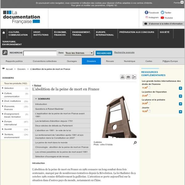 L'abolition de la peine de mort en France - Dossiers