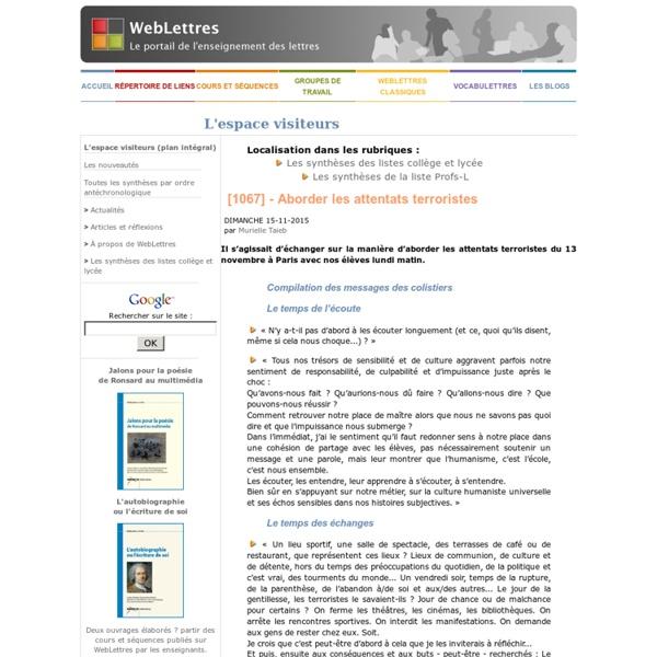 Weblettres - Aborder les attentats terroristes