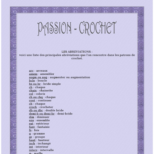 Liste des abréviations de crochet utilisées dans les patrons
