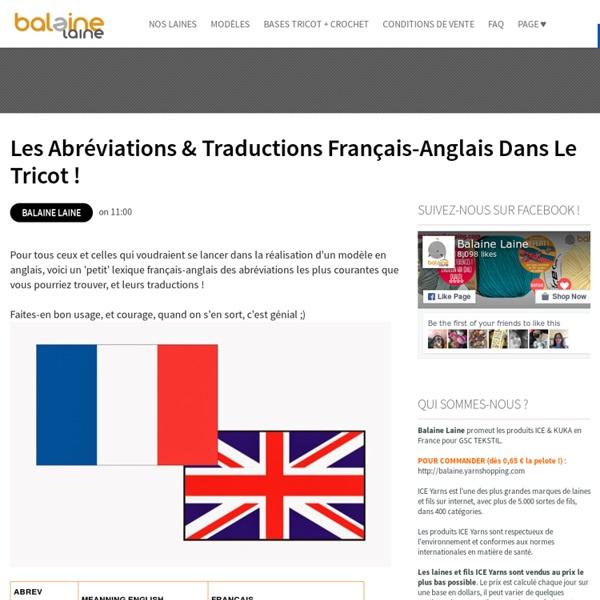 Les Abréviations & Traductions Français-Anglais dans le tricot ! ~ Balaine
