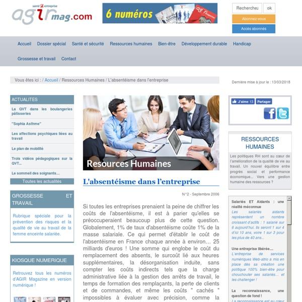 L'absentéisme dans l'entreprise - Ressources Humaines