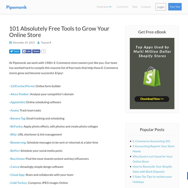 101 Absolutely Free Tools to Grow Your Online Store