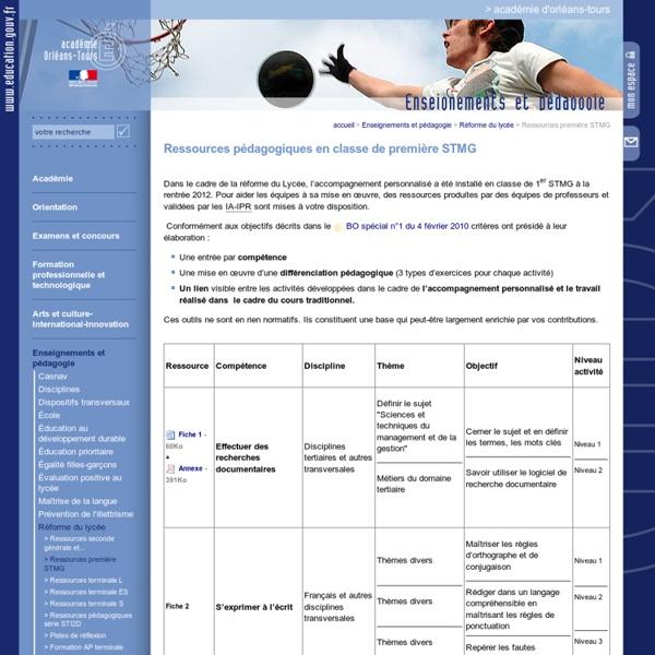 Portail académique:Ressources première STMG
