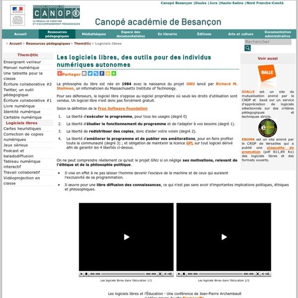 Canopé académie de Besançon : Logiciels libres