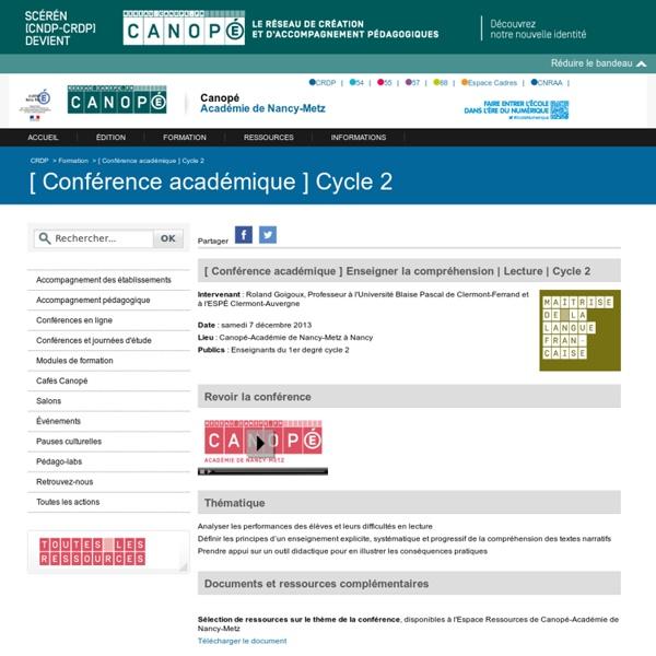 Canopé - académie de Nancy-Metz: [ Conférence académique ] Cycle 2