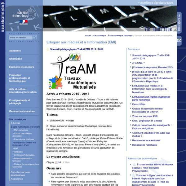 """TraAM EMI """"Rumeur, complot"""" Académie d'Orléans-Tours"""